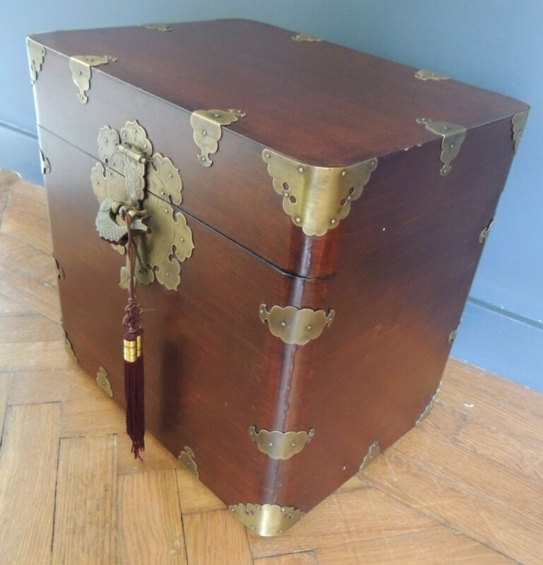 Vtg Chinese Treasure Chest Brass Fish Lock and Key Orientalist Rosewood Trunk