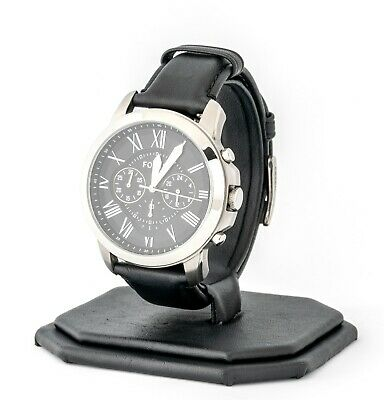 Mens's Fossil Watch, Grant Chronograph Black Leather Watch FS4812, New