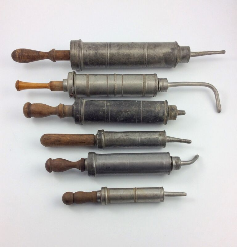 6 Antique relic medical pewter syringe enema Veterinary 18th -early 19th century