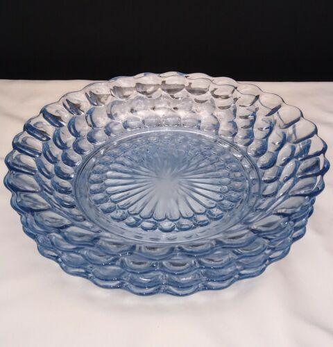 "Set of 4 Anchor Hocking Glass Co. Bubble Sapphire Blue 7-3/4"" Flat Soup Bowls"