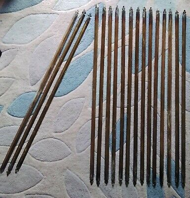 14 + 3 Antique Vintage Brass Carpet Stair Rods Runner Fleur Du Les Decoration
