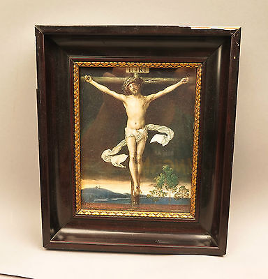 ri5692:Bild in Holzrahmen,datiert 1911, Jesus am Kreuz,wohl Druck,Goldrand.