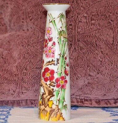 - VASE Chinese Plum Blossom Flower Bamboo Design Porcelain Asian Gold Trim 7 5/8