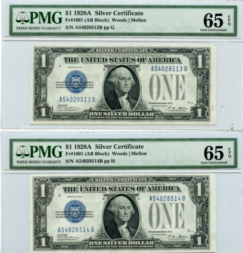 (2) 1928 A $1 Silver Certificate PMG 65 EPQ Consecutive serial Numbers