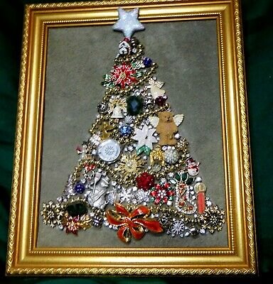 Vintage Jewelry Art Christmas Tree w Estate Frame Goldtone