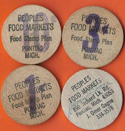 FOOD STAMP COUPON TOKEN WOODEN NICKELS PEOPLES FOOD MARKETS STORE SCRIP