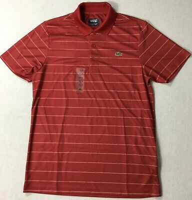 Lacoste Men Sport Ultra Dry Striped Polo DH0424 Red Size 7/XL