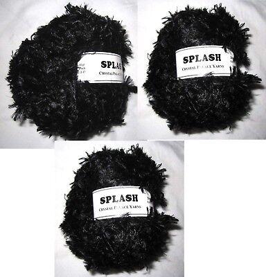 LOT 3 Balls Crystal Palace Yarns Splash 202 Ebony Black Feather Boa Eyelash KNIT