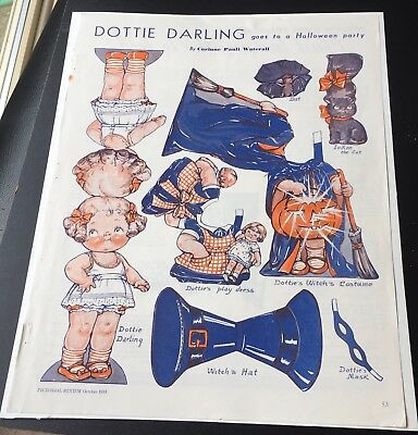 Dottie Darling Goes To A Halloween Party  Paper Doll 1934 Corinne Pauli Waterall - Halloween Paper Dolls