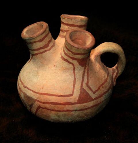 """A Rare Mohave Indian Pottery 3 Spout Jar  4 1/2""""h x 5 1/4""""d"""