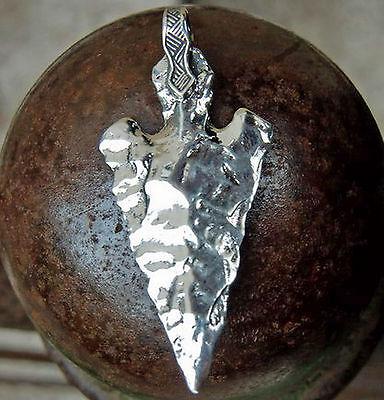 urig Pfeilspitze Anhänger 925 Silber + Lederriemen Amulett der Unverwundbarkeit