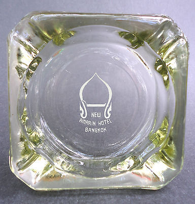 Ashtray Souvenir New Amarin Hotel Bangkok Thailand 3 3 8In Glass White Print Vtg
