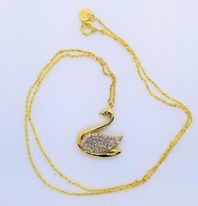 18kt REAL Solid Gold Swan Necklace