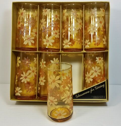 8 Vtg Anchor Hocking Drinking Glass Tumblers Set Applied Daisy Flower Retro NIB