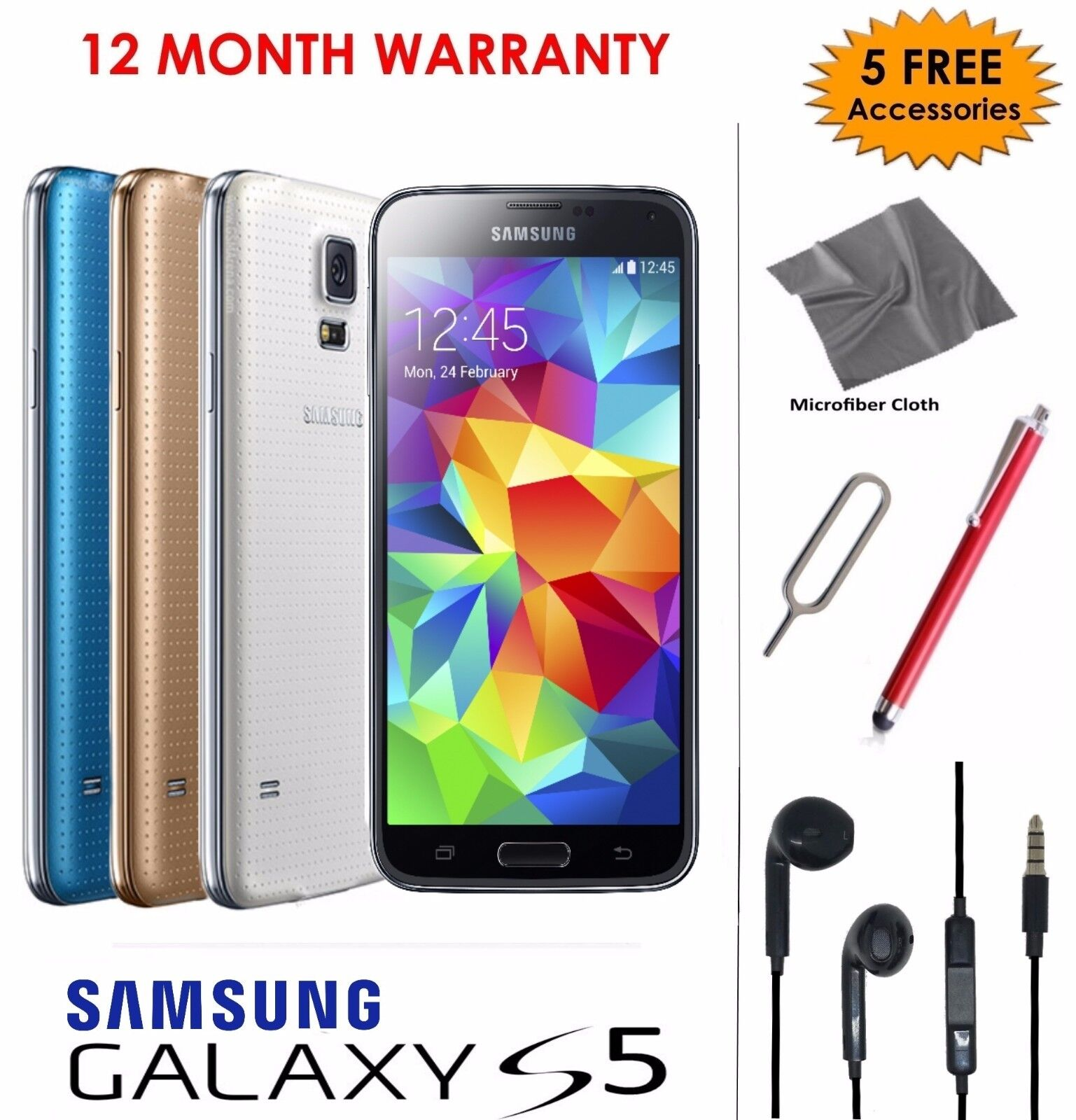 SELLER REFURBISHED SAMSUNG GALAXY S5 -16GB  ALL COLOURS - SMARTPHONE - UNLOCKED TO ALL NETWORKS