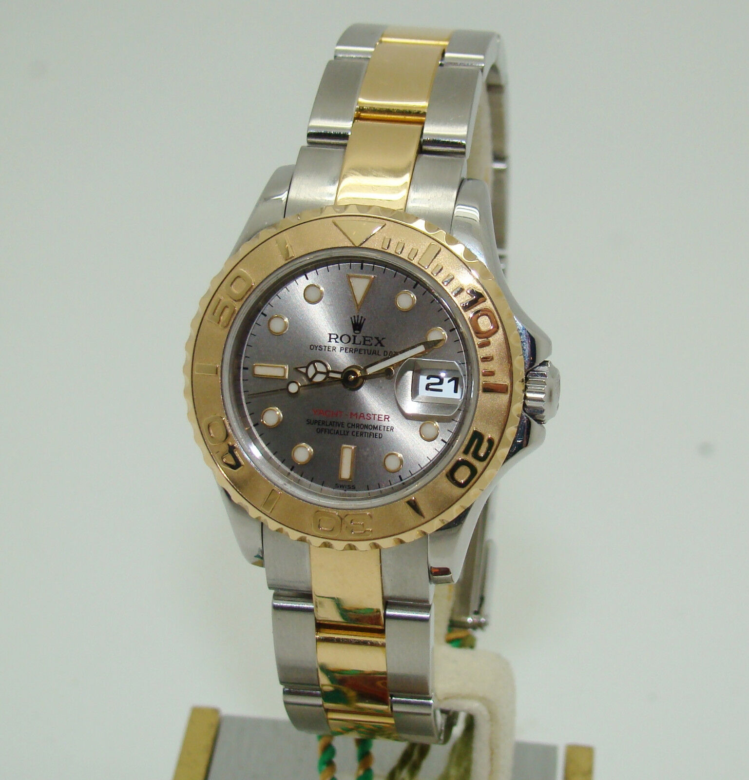$3279.00 - ROLEX 29mm WOMENS SS & 18K GOLD YACHTMASTER GREY DIAL WATCH 169623