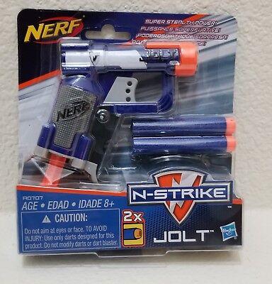 New! NERF N-STRIKE JOLT Blaster Toy Gun w/ 2 Elite Darts & Cocking Handle, Blue