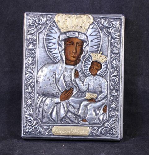 Handmade Ornate Polish Icon Silver Gold Our Lady Of Czestochowa Black Madonna