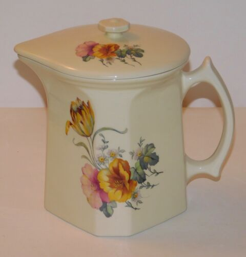 """Coors Thermo Porcelain Pitcher w/lid Batter Tulip Flowers - 8"""" - Excellent Cond"""