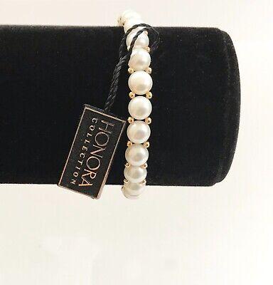 New Honora 14K Gold Beads White Freshwater Button Pearl Stretch Bracelet  Freshwater Button Pearl Stretch Bracelet
