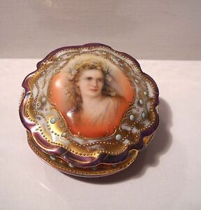 Antique GERMANY Porcelain Hand Painted Trinket Box