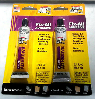 2x Super Glue Fix All Adhesive Tube Fresh 58 Fl Oz Retail Pack Usa Made