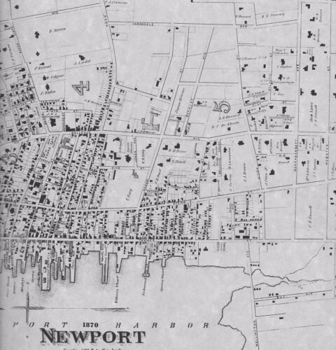 Newport  RI 1870  Maps with Businesses and Homeowners Names
