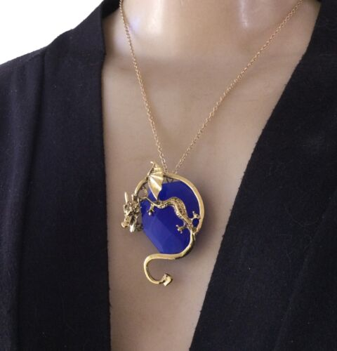 Vintage Necklace Wrapped Dragon Pendant Blueberry Quartz Dragon Jewelry