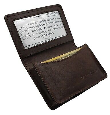 AG Wallets Mens Premium Leather Business and Credit Card Holder Wallet Brown