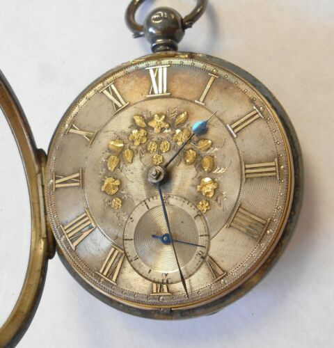 1800s Payne & Son Fusee Swing Out Sterling Silver Case Pocket Watch Gold Floral