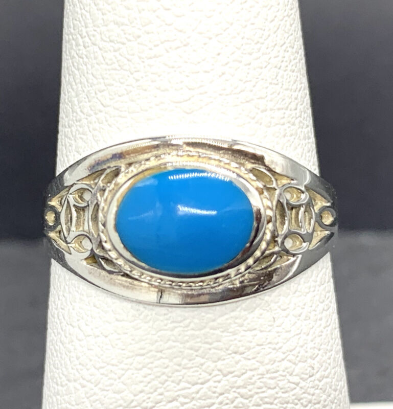 Vintage Sterling Silver Ring 925 with Turquoise Colored Glass Size 6