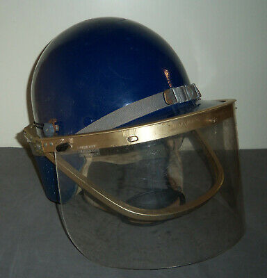 Vintage Msa Skullgard Protective Helmet Riot Gear Hat Cap Adjustable Face Shield