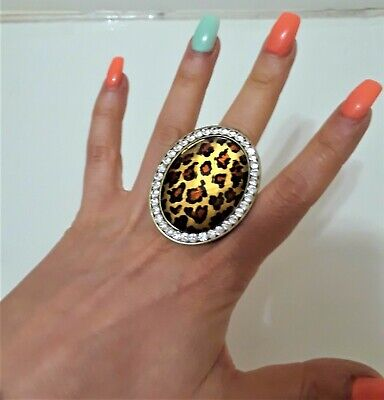 Jumbo Oversize Cocktail Oval Statement Prom Ring Chunky Stretch Leopard -