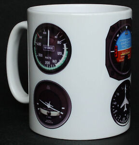 Aircraft / Aeroplane Instruments Pilot Flying Gift Mug