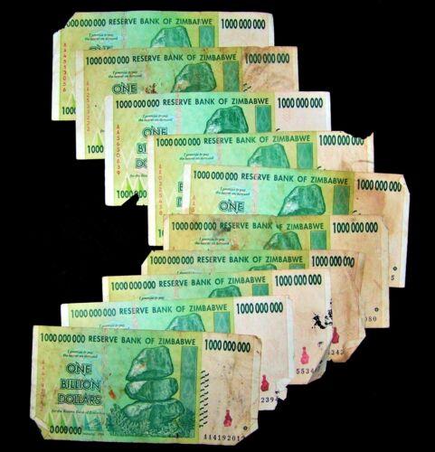 10 x Zimbabwe 1 Billion Dollar banknotes-2008/AA/DAMAGED CONDITION