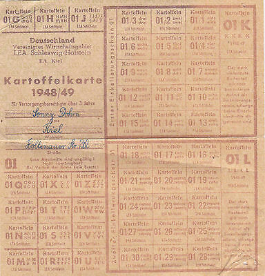 Kartoffelkarte 1948/49 LEA Schleswig-Holstein Kiel Besatzung Lebensmittelmarken