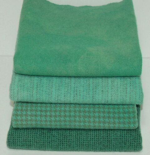 """HAND DYED RH WOOL Over-Dyed COMBO BUNDLE ~ """"SOFT TURQUOISE"""" (4) Fat 1/16 pcs"""