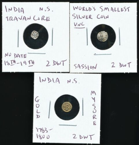 India Princely States 3 Coins - 1 Gold and 2 Silver - See Photos