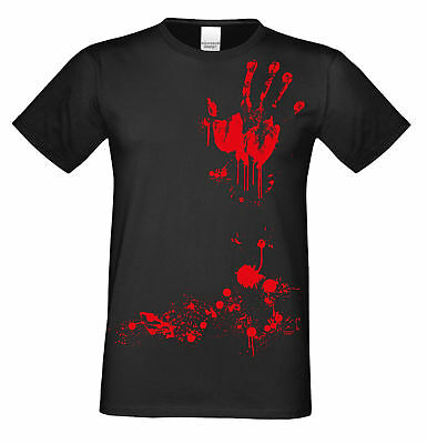 Blutige Hand - Handabdruck Blut Halloween T-Shirt Horror Herren Männer schwarz ()