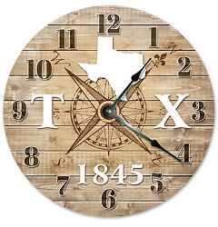 TEXAS CLOCK Established in 1845 CLOCK Large 10.5 inch Wall Clock COMPASS MAP