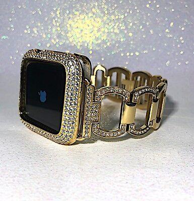 2 pc set 38mm Gold Lab Diamond Apple Watch Band/Bezel Sterling Metal Series2/3