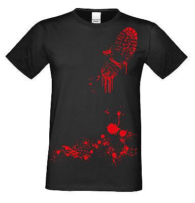 Blutiger Schuhabdruck Halloween Kostüm Fun T-Shirt Herren   Farbe: