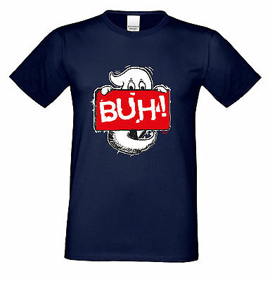 Geist Buh! Halloween Kostüm Ersatz Herren Fun T-Shirt   Farbe: - Navy Blau Kostüm