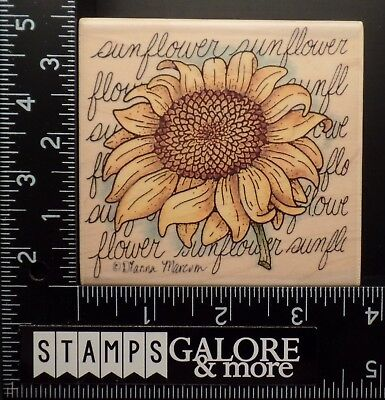 STAMPASSIONS USED RUBBER STAMPS G-4338 SUNFLOWER SQUARE GARDEN DIANA MARCOM