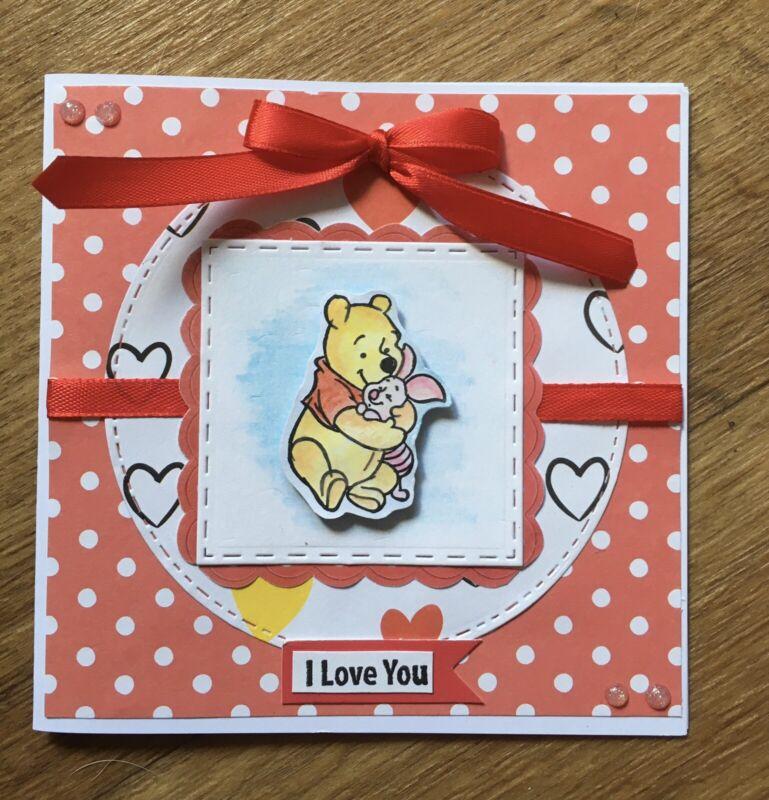 Handmade+Greeting+Card.+Winnie+The+Pooh%2FPiglet.+I+Love+You.+Ribbon%2C+Bow%2C+Pearls.
