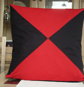 BLACK AND RED DIAGONAL DESIGN COTTON / POLY CUSHION COVER