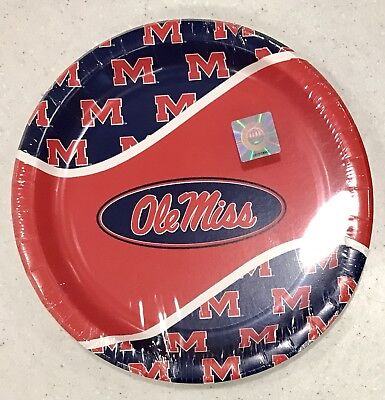 NEW 8 Ole Miss Dinner Plates University Mississippi ~ Tailgate Football Baseball - Ole Miss Party Supplies