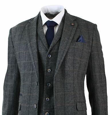 Herrenanzug 3 Teilig Grau Fischgräte Tweed Design Eng Tailliert Vintage