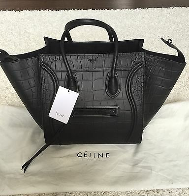 Authentic Celine Black Croc Embossed Phantom Medium Leather Luggage Tote