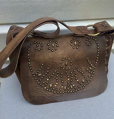 FALORNI Italia Distressed Brown Leather Studded Boho Saddle Shoulder Handbag